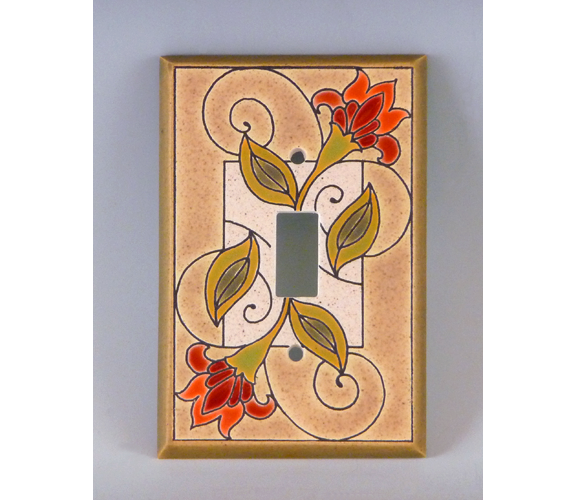All Fired Up - Single Switch Plate, Jacobean Flower
