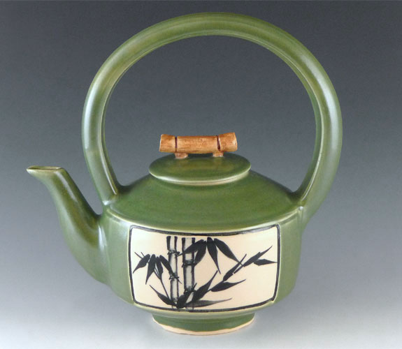 Ceramic bamboo teapot by Bonnie Belt