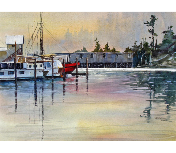"""Marina Morning"" watercolor by Julie Creighton"