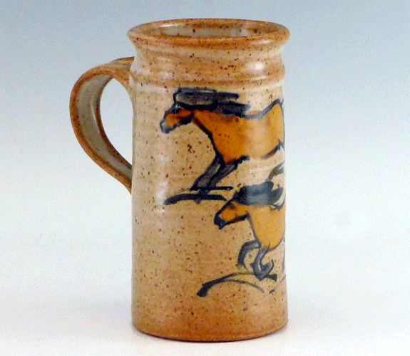 Tall mug with horse design by Frank Gosar