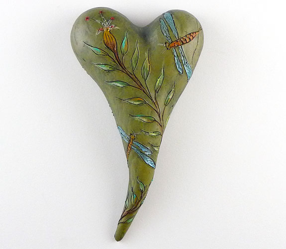 Dragon Flight ceramic heart by Jaquiline Hurlbert