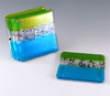 Link to aqua & teal fused glass coasters by Chris Paulson